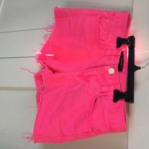 J brand neon pink cut off shorts